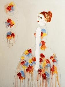 Redhead with Red and Blue Flowers, 2016 by Susan Adams