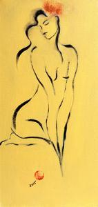 Yellow Nude with Pink Flower, 2015 by Susan Adams