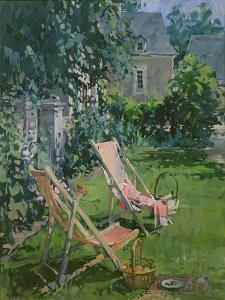 Deck Chairs at Coudray, 1998 by Susan Ryder