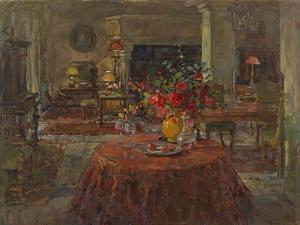 Grand Salon with Red Roses by Susan Ryder