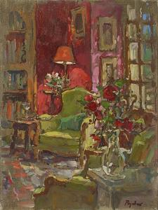Red Wall, Red Roses by Susan Ryder