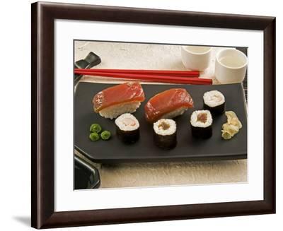 Sushi (Salmon Nigiri and Norimaki), Wasabi Cream and Pickled Sushi Ginger Slice, Japan-Nico Tondini-Framed Photographic Print