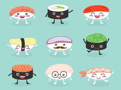Sushi Set, Cute Sushi Set, Japanese Food, Sushi Icons, Vector Cartoon. Cartoon Characters, Vector I-What's My Name-Art Print