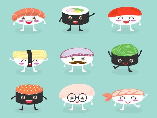 Sushi Set Cute Sushi Set Japanese Food Sushi Icons Vector