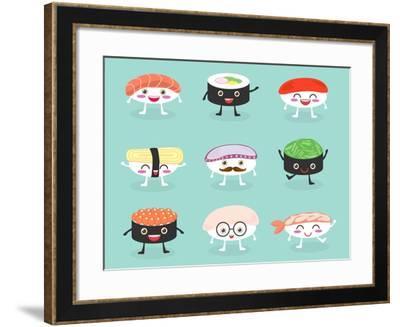 Sushi Set, Cute Sushi Set, Japanese Food, Sushi Icons, Vector Cartoon. Cartoon Characters, Vector I-What's My Name-Framed Art Print