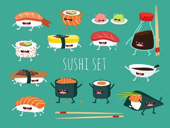 Sushi Set. Soy Sauce and Sushi Roll. Japanese Food. Vector Cartoon. Friends Forever. Comic Characte- Serbinka-Art Print