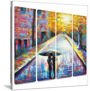 Paris Back Street Magic 4 piece gallery-wrapped canvas by Susi Franco