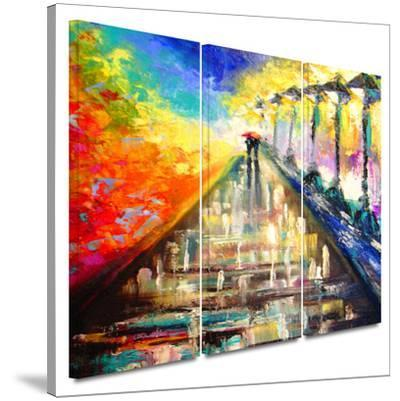 Rainy Paris Evening 3 piece gallery-wrapped canvas by Susi Franco