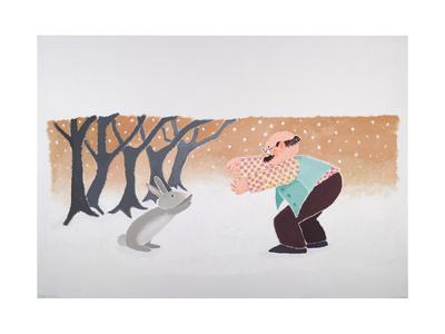 The Meeting of the Old Man and the Rabbit in the Snow