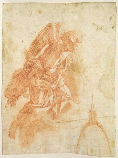 Suspended Angel and Architectural Sketch, c.1600-Bernardino Barbatelli Poccetti-Giclee Print