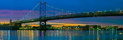 Suspension Bridge across a River, Ben Franklin Bridge, River Delaware, Philadelphia, Pennsylvani...--Photographic Print