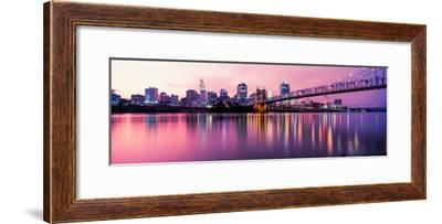 Suspension Bridge across the Ohio River with Skyscrapers in the Background, Cincinnati, Ohio, USA--Framed Photographic Print