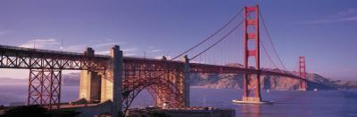 Suspension Bridge at Dusk, Golden Gate Bridge, San Francisco, Marin County, California, USA