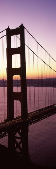 Suspension Bridge at Sunrise, Golden Gate Bridge, San Francisco Bay, San Francisco, California, USA--Photographic Print