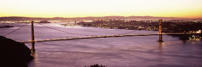 Suspension Bridge Lit Up at Dusk, Golden Gate Bridge, San Francisco Bay, San Francisco, Californ...--Photographic Print