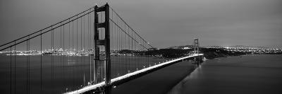 Suspension Bridge Lit Up at Dusk, Golden Gate Bridge, San Francisco, California, USA--Photographic Print
