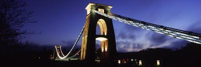 Suspension Bridge Lit Up at Night, Clifton Suspension Bridge, Avon Gorge, Bristol, England--Photographic Print