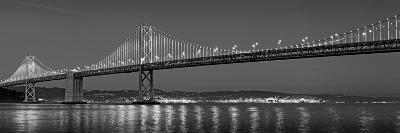 Suspension Bridge over Pacific Ocean Lit Up at Dusk, Bay Bridge, San Francisco Bay--Photographic Print