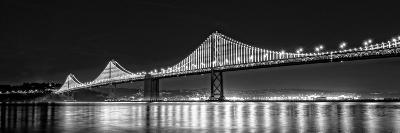 Suspension Bridge over Pacific Ocean Lit Up at Night, Bay Bridge, San Francisco Bay--Photographic Print