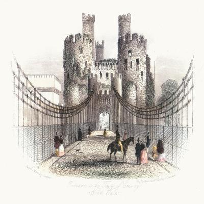 Suspension Bridge over the Conwy Estuary, Wales, C1840- Newman & Co-Giclee Print