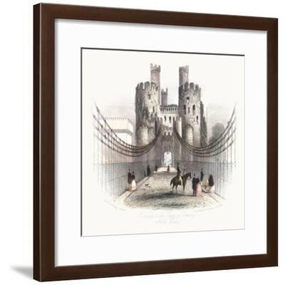 Suspension Bridge over the Conwy Estuary, Wales, C1840- Newman & Co-Framed Giclee Print