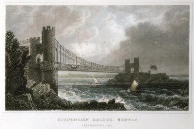 Suspension Bridge over the Conwy Estuary, Wales, C1840--Giclee Print