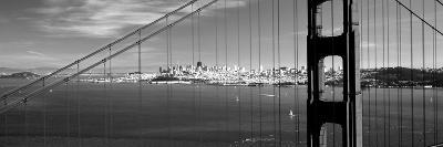Suspension Bridge with a City in the Background, Golden Gate Bridge, San Francisco, California, USA--Photographic Print