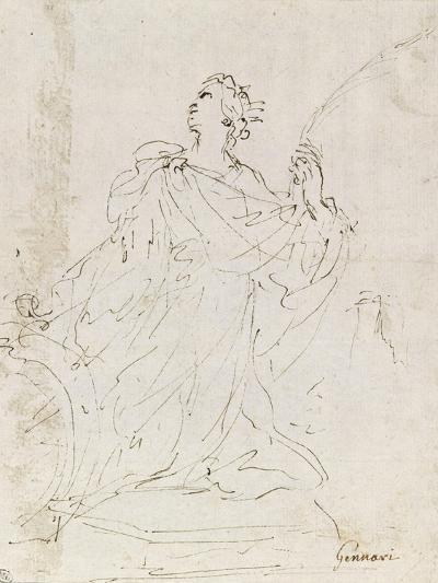 Suzanne au bain ; L'amour bandant son arc ; Sainte Catherine agenouillée, regardant le ciel-Guerchin Le-Giclee Print