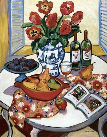 Blue Platter with Plums by Suzanne Etienne
