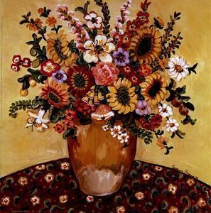 Golden Vase Floral by Suzanne Etienne