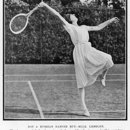 Suzanne Lenglen Taking a Shot--Photographic Print