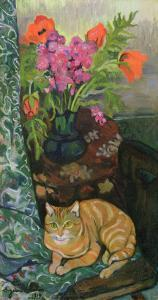 Bouquet and a Cat, 1919 by Suzanne Valadon