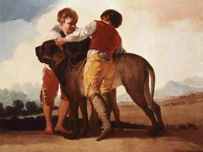 Boys with Mastiff