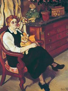 Portrait of Lily Walton with Raminou (Portrait De Miss Lily Walton Avec Raminou) by Suzanne Valadon