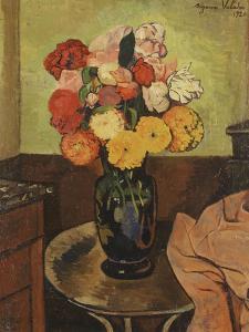 Vase of Flowers on a Round Table, Vase De Fleurs Sur Une Table Ronde, 1920 by Suzanne Valadon