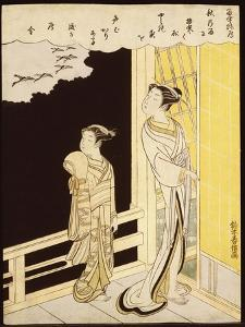 A Courtesan and Her Kamuro on a Verandah Watching Flying Geese in the Rain by Suzuki Harunobu