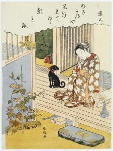 A Courtesan Seated on a Verandah Brushing Her Teeth by Suzuki Harunobu