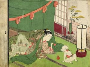 A 'Shunga', from a Series of Twenty Four Erotic Prints: Lovers, with Child Looking On, 1725-70 by Suzuki Harunobu