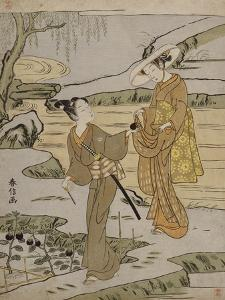 A Summer Scene on a Raised Embankment of a Young Man Cutting an Aubergine to Give to His Young… by Suzuki Harunobu