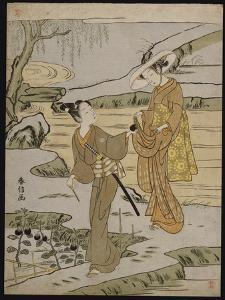 A Summer Scene on a Raised Embankment of a Young Man Cutting an Aubergine by Suzuki Harunobu