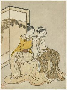 Calender Print for Meiwa 2 and a Mitate of Emperor Xuanzong and Yang Guifei, 1765 by Suzuki Harunobu