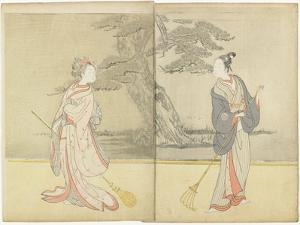 Calender Print of Meiwa 2 and a Mitate of the No Play Takasago, 1765 by Suzuki Harunobu