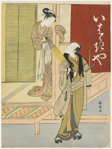 Courtesan Detaining a Young Man as a Mitate of Ibaraki and Watanabe No Tsuna, C. 1767 by Suzuki Harunobu