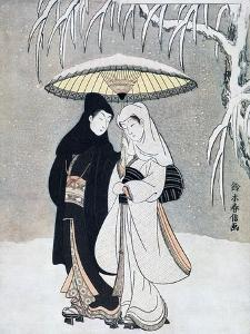 Crow and Heron, or Young Lovers Walking Together under an Umbrella in a Snowstorm, C1769 by Suzuki Harunobu