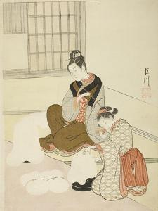 Evening Snow on a Floss Shaper (Nurioke No Bosetsu), C.1766 by Suzuki Harunobu