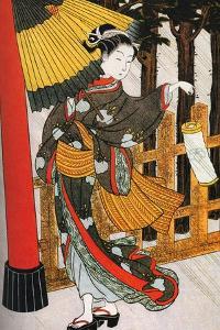 Girl on Her Way to the Shinto Shrine on a Stormy Night, 18th Century by Suzuki Harunobu