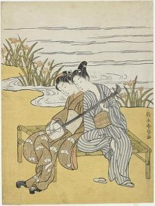 Lovers Playing the Same Shamisen as a Mitate of Emperor Xuanzong and Yang Guifei, C. 1767 by Suzuki Harunobu