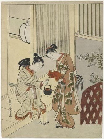 Lovers Plying a Rooster with Sake, C. 1767