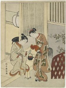Lovers Plying a Rooster with Sake, C. 1767 by Suzuki Harunobu