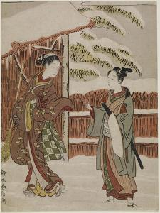 Mitate of a Scene from the Kabuki Play Women's Version of Ptted Trees, C. 1768 by Suzuki Harunobu